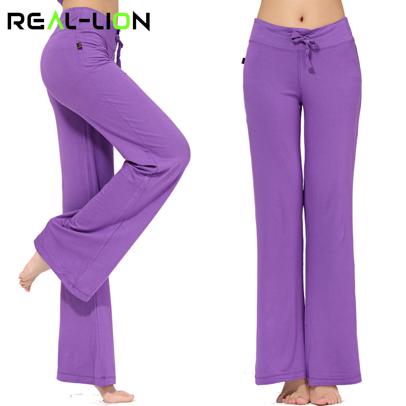 RealLion Wide Leg Sport Pants Women High Waist Stretch Bandage Flare Pants Broad Leg Dance Yoga Pants Long Trousers S-4XL active wide leg stretch waistband pants with stitching design in blue