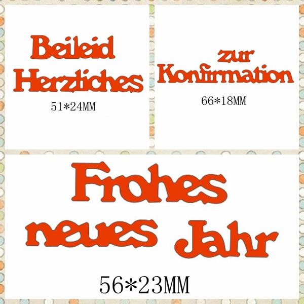 Купить с кэшбэком German Words Metal Cutting Dies Stencil For Scrapbooking Album Photo Paper Cards Crafts Decorative New Handmade Embossing