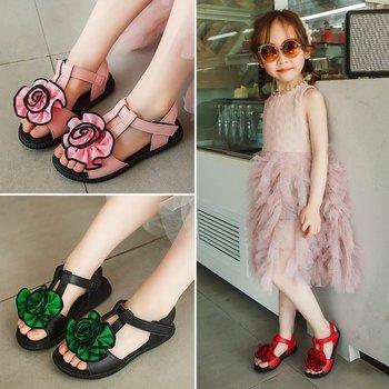 Сандалии для девочек, розовые, разноцветные, с мягкой подошвой, с розой, европейские размеры 26-35, лето 2019