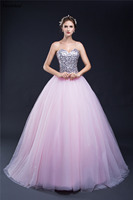 Favordear Real Photos 2018 Bling Beading Sequins Lace Up Back Ball Gown Pink Wedding Dress