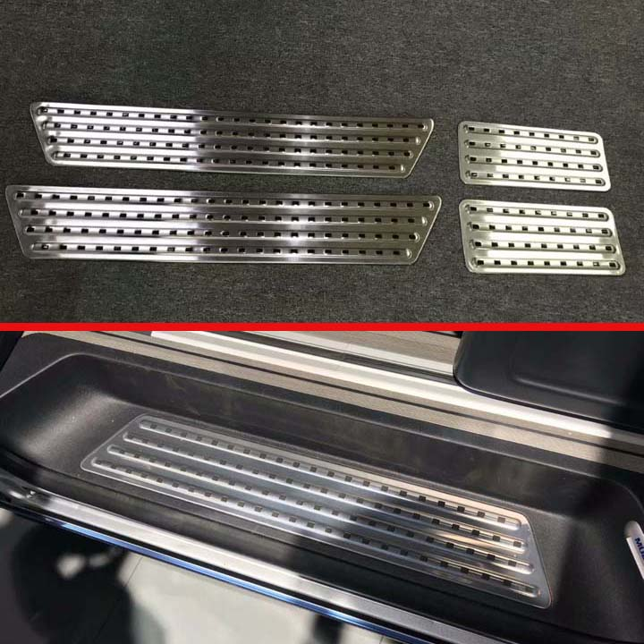 For VW Volkswagen Transporter (T6) Caravelle 2017 2018 Stainless Steel Inner Inside Door Sill Panel Scuff Plate Kick Step Trim