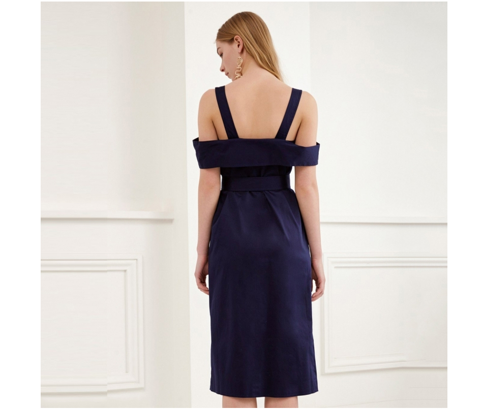 Backless Cold Shoulder V-neck Button Down Sashes Wrap Dress