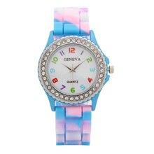 Woman Watches Rainbow Crystal Rhinestone Watch Silicone Jelly Link Band Bracelet Watch Relogio Feminino Wristwatch