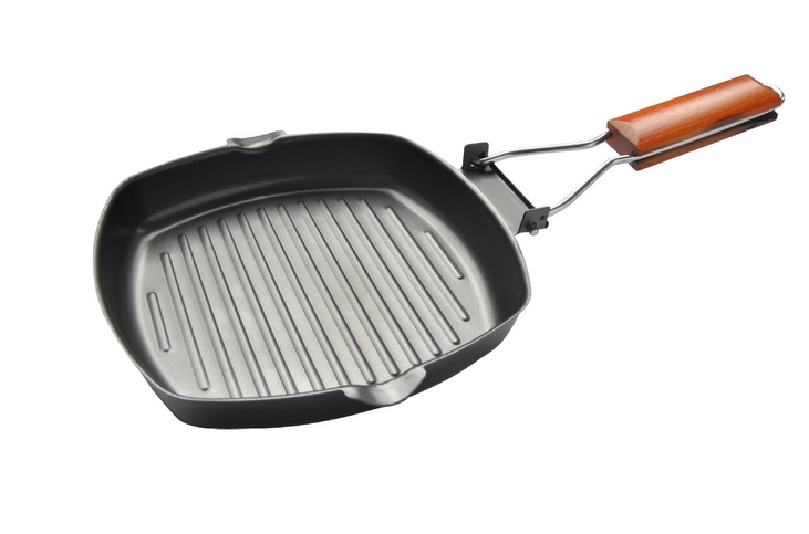 20-28cm Non-sticky Cast Iron Steak Frying Pan Wooden Handle Folding Portable Square Grill Pan Free Shipping