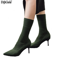 Women S Boots Green Elastic Knit Sock Boots Ladies Pointed Toe Chunky High Heels Fashion Kardashian