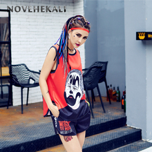 Personality Women Two Piece Outfits Tank top and Shorts Set trend street graffiti youthful design loose Vest With shorts 604204