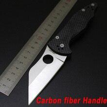 NEWEST Spyderco C85 HUNTING Folding Blade Knife Carbon fiber Handle Tactical Hunting Knife Camping survival Pocket Knife c85gp