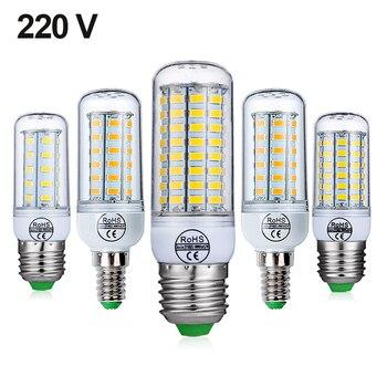 E27 lámpara LED E14 bombilla LED SMD5730 220 V bombilla de maíz 24 36 48 56 69 72 LEDs lámpara de la vela lámpara LED para decoración del hogar
