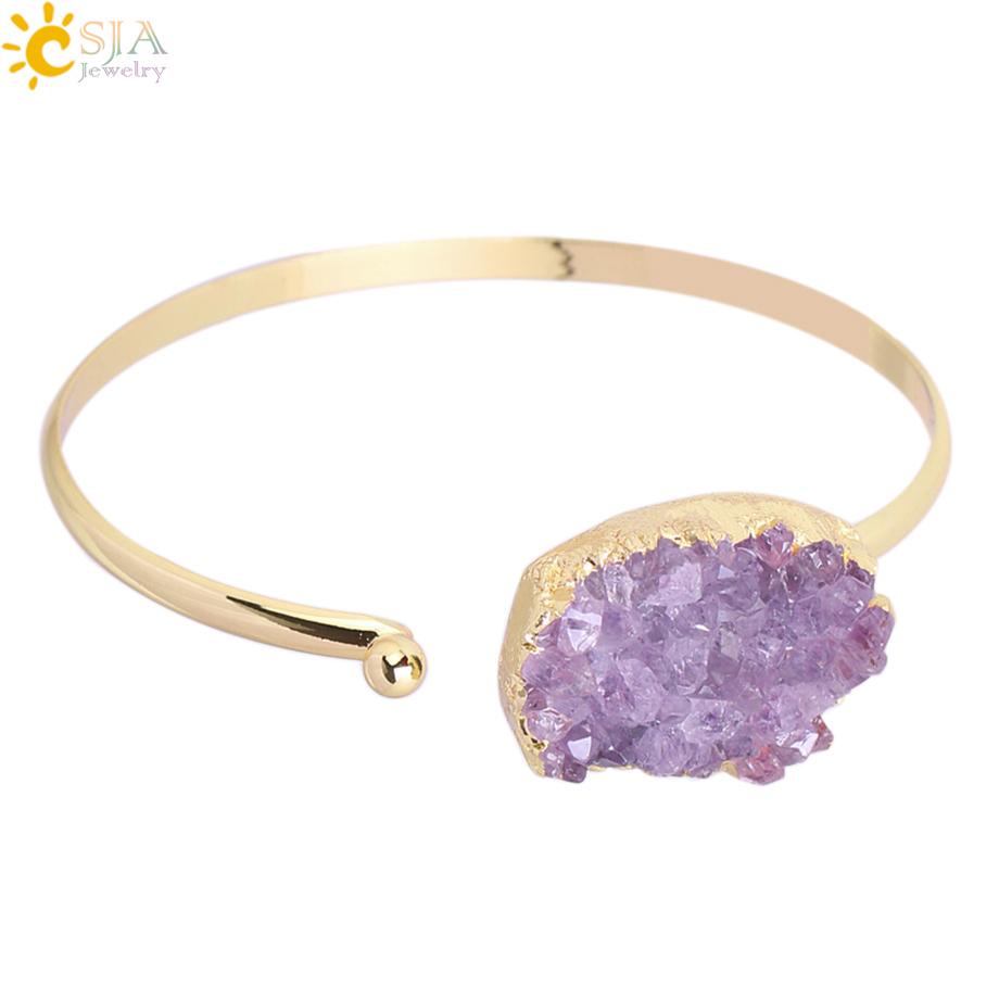 Amythyst Thin Silver or Yellow Gold Tone Stainless Steel West Indian Inspired Ball Cuff Bangle with Screw-On Endings for Beads and Charms