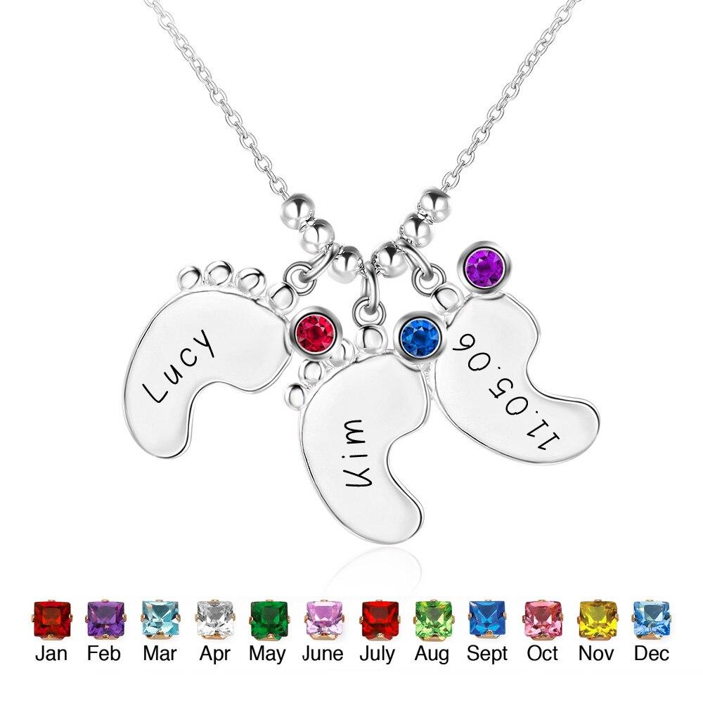 18th Birthday Necklace Sterling Silver Custom Birthstone: Personalized 925 Sterling Silver Birthstone 3 Little Feet