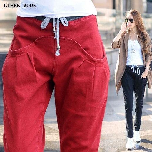 Black White Red Jeans Women Denim Pants Drawstring Waist Jogger Pants Casual Trousers -5177