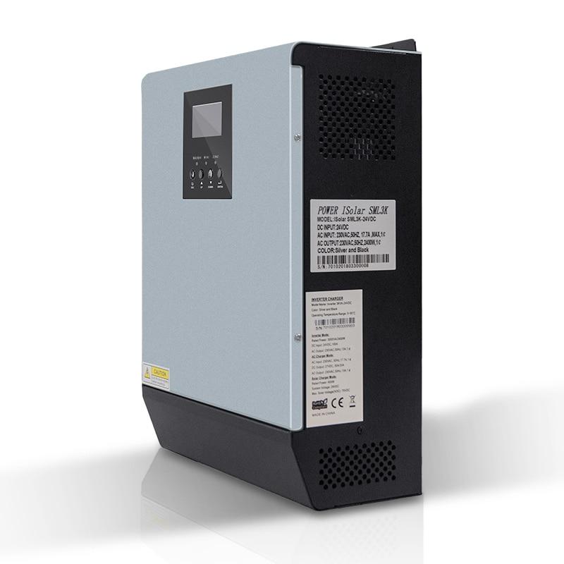 Image 3 - 3KVA Solar Inverter 2400W 24V 220V Hybrid Inverter Pure Sine Wave Built in MPPT Solar Controller Battery Charger inversor solarSolar Inverters   -