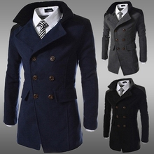 SWYIVY Winter Men #8217 s Wool Coat Slim Casual Long Jacket Warm Woolen Coats Overcoat Male Wool Double Breasted Winter Coat Men cheap Wool Blends Smart Casual Full Polyester Turn-down Collar Solid STANDARD NONE WD15732 Woven Conventional REGULAR