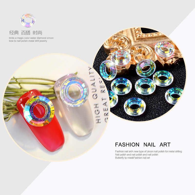 10 шт. ювелирные изделия для ногтей Алмазная дрель высококачественное Кристальное кольцо «Ангел» Круглый Круг 3d украшения аксессуары для маникюра хамелеон