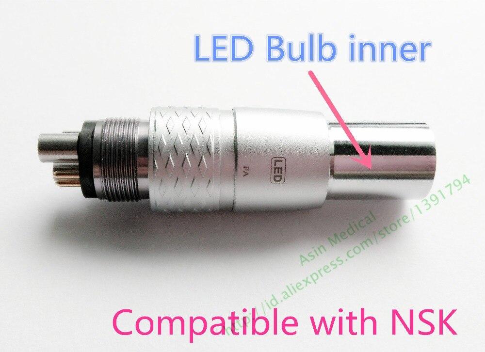 Dental NSK Ti MAX handpiece 6 Pin Fiber Optic LED COUPLING Coupler ,NSK fiber optic adaptor 6 holes