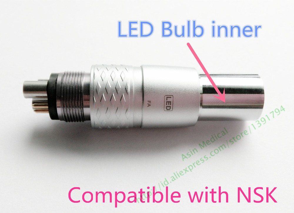 Dentaire NSK Ti-MAX pièce à main 6-Pin Fiber Optique LED COUPLAGE Coupleur, NSK fiber optique adaptateur 6 trous