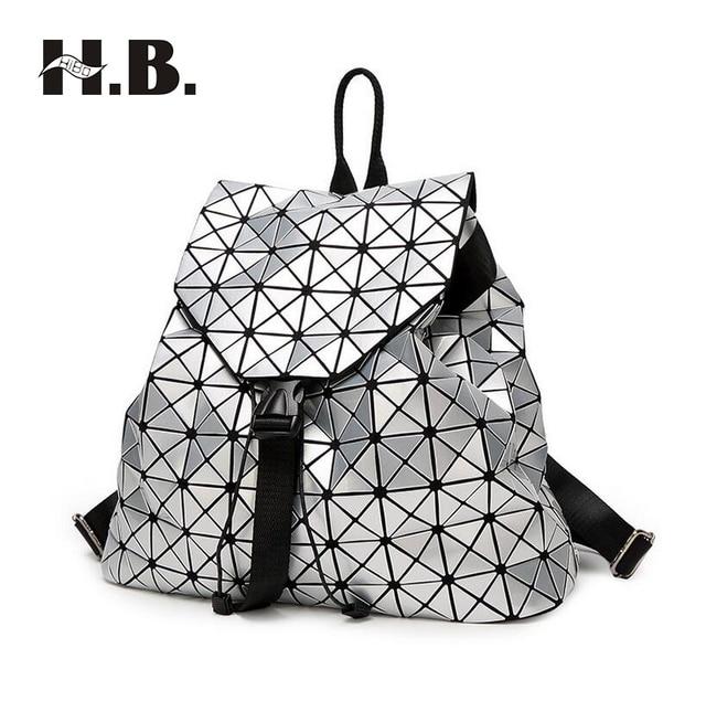 18d864e7ea3 HIBO Japan and South Korea big laser geometric shoulder backpack fashion  trend of women bag travel