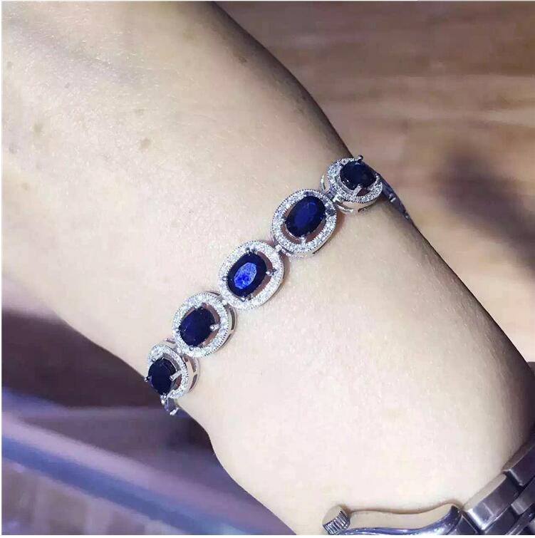 Natural sapphire chain bracelet Free shipping Natural original blue sapphire 925 sterling silver  4*6mm  5pcs Natural sapphire chain bracelet Free shipping Natural original blue sapphire 925 sterling silver  4*6mm  5pcs