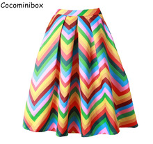 Cocominibox Women's Stylish Rainbow Wavy Striped Pleated Skirt Knee Length Satin Ball Gowns