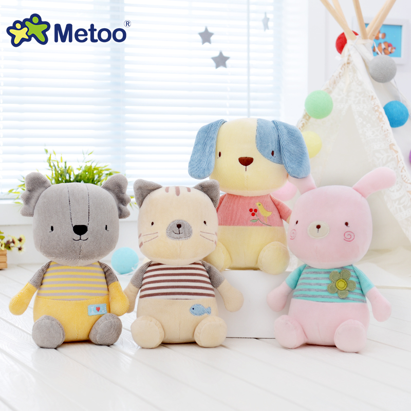 Metoo 22cm Rabbit Dog Cat Koala Plush Toys Stuffed Cartoon Animal Dolls Toy for Baby Kids Birthday Gift Cute Lovely Calm Doll 1pc 16cm mini kawaii animal plush toy cute rabbit owl raccoon panda chicken dolls with foam partical kids gift wedding dolls