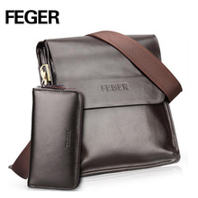 FEGER Best Selling Men's Messenger Bag pu leather Single Shoulder Bag for Men Bag free shipping