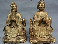 China Copper Brass Old longevity Spouse Supernatural Being Deity Statue Pair Set