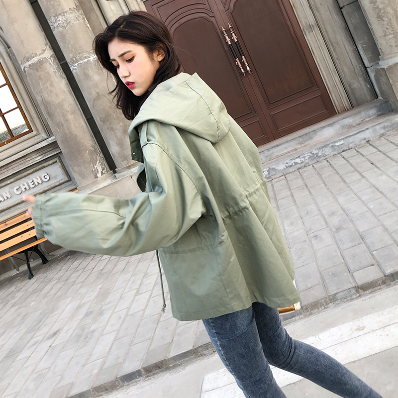 FTLZZ New Loose Trench Coat Spring Autumn Women's Hooded Black Green Windbreaker Outerwear Female Casual Trench Coat 12