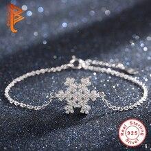 Navidad Regalo de La Joyería 100% de Plata de ley 925 Pulsera de Cadena para Las Mujeres Crystal Snowflake Charm Pulsera Brazalete de La Joyería de Lujo