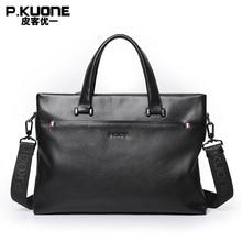 P.KUONE Brand Design Genuine Cow Leather Briefcase Men Leather Handbag Shoulder Messenger Bags Crossbody Laptop Bag