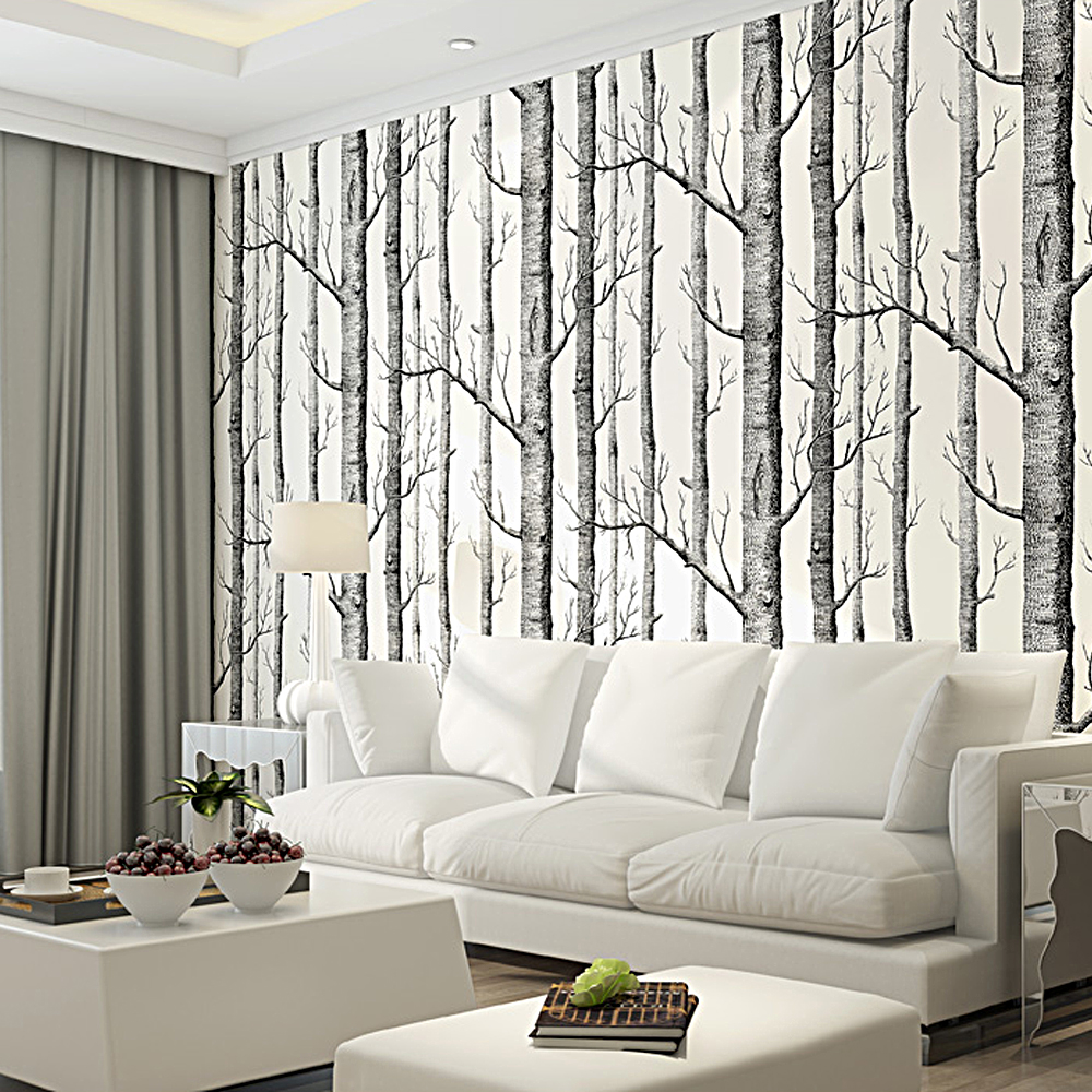 Black and white tree wallpaper for walls for Tree wallpaper bedroom
