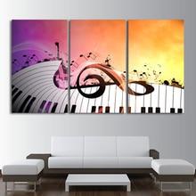 Современный, напечетанный в высоком разрешении картины модульная плакаты 3 Панель пианино ключи музыка характер украшения дома Tableau стены книги по искусству фотографии холст