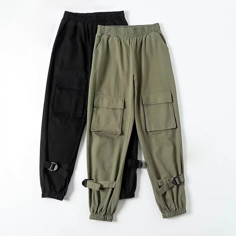 Army green Cargo Pants Women loose Casual Chinos Pants Female High Waist streetwear punk Pant big