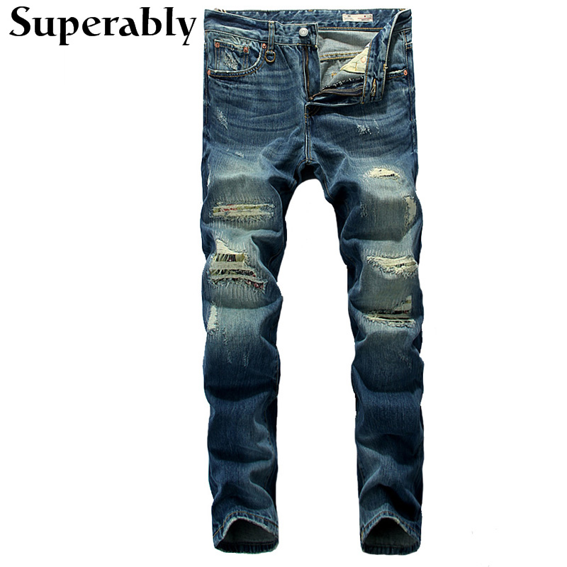 Superably Brand Men Jeans Blue Color Denim Destroyed Ripped Jeans Mens Pants Straight Fit Stripe Jeans Male Casual Long Trousers 2017 fashion mens jeans straight denim biker jeans men trousers new famous brand superably jeans skull ripped pants u292