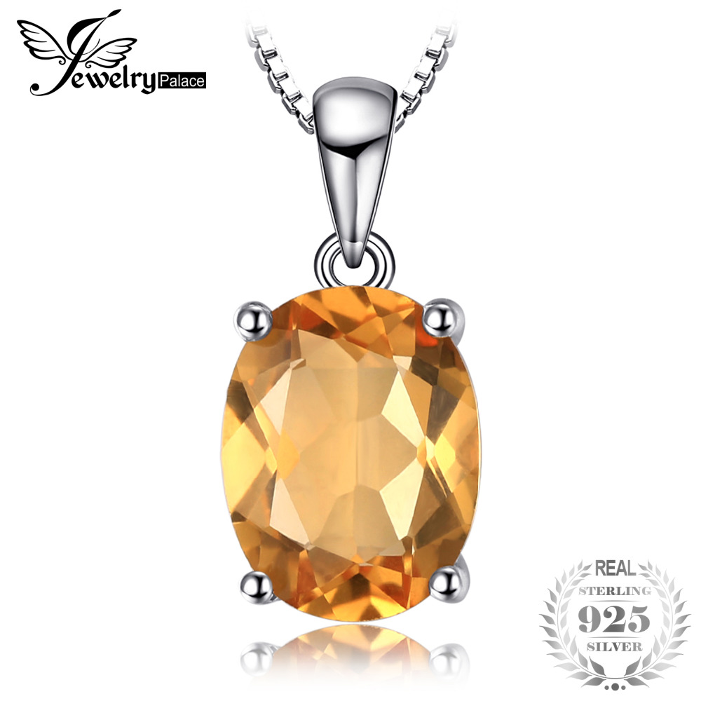Oval 1.7ct Natural Citrine Birthstone Solitaire Pendant Solid 925 Sterling Silver Not Include a Chain Fine Jewelry