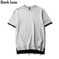 패치 워크 힙합 T 셔츠 짧은 소매 2017 여름 유럽 미국 스타일의 스트리트 빈 티셔츠 O 목 캐주얼 티 블랙 그레