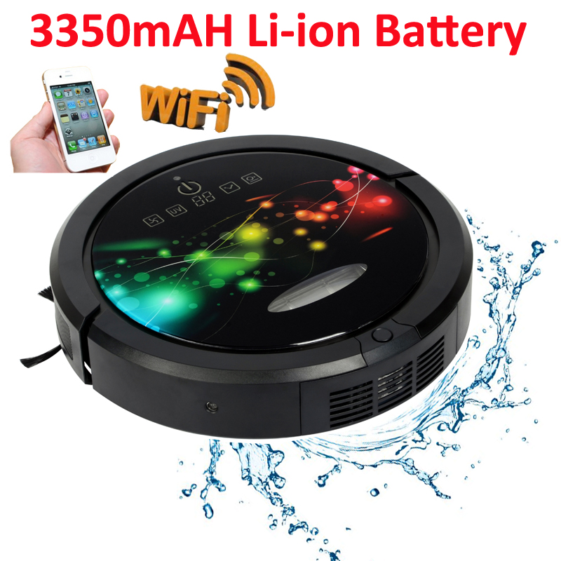 Date Venir WIFI Smartphone APP Contrôle Multifonction Robotique Aspirateur Pour La Maison Avec Réservoir D'eau, 3350 mah batterie Au Lithium
