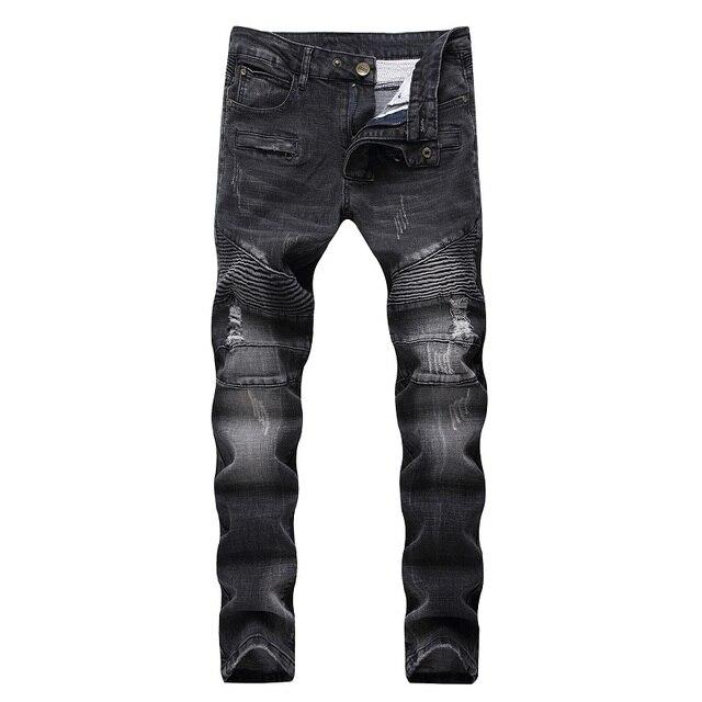 e92ddb63860 High Quality Ripped Jeans Men Fashion Patchwork Moto Jeans 2018 New Mens  Pants Slim Fit Jeans Brand Men Biker Denim Jean men