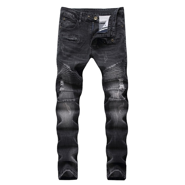 aa03cd2771 Pantalones vaqueros rasgados de alta calidad para hombre a la moda de  retazos Moto Jeans 2018