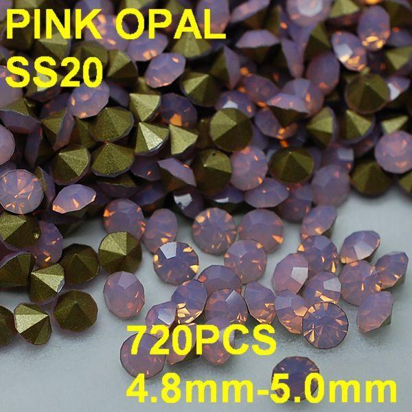 SS20 720 unids/lote 4.8mm-5.0mm de Cristal de Color Rosa Opal Rhinestone Point Volver Nail Joyería de Oro para el Vestido