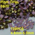 SS20 720pcs/lot 4.8mm-5.0mm Pink Color Crystal Opal Rhinestone Golden Point Back Jewelry Nail for Dress