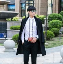 Men's clothing plus size design suit collar single-breasted long wool coats mens slim woolen coats outerwear black autumn winter
