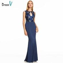 Dressv 다크 로얄 블루 긴 이브닝 드레스 backless 저렴한 특종 목 결혼식 파티 공식 드레스 자수 이브닝 드레스