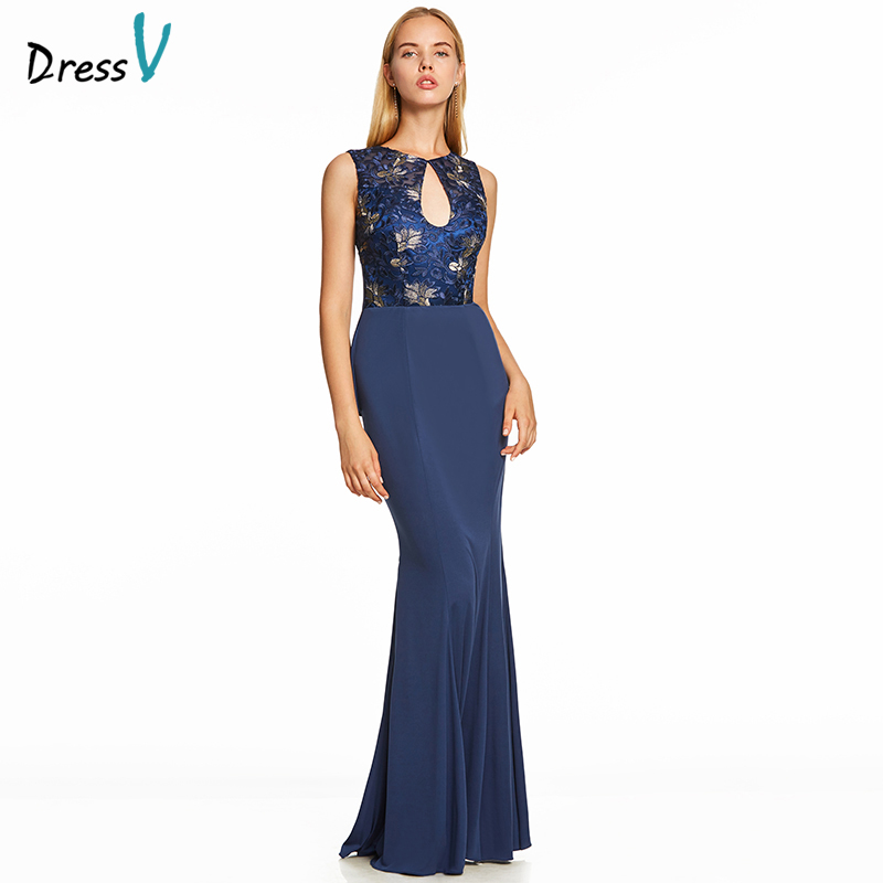 Dressv Dark Royal Blue Long Evening Dress Backless Cheap Scoop Neck Wedding Party Formal Dress Embroidery Evening Dresses