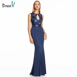 Image 1 - Vestido de noche largo azul real oscuro, Espalda descubierta, barato, con cuello redondo, para fiesta de boda, formal, bordado