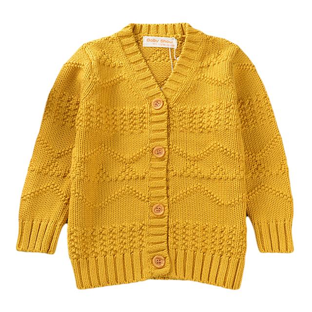 Niños Otoño Invierno Suéter 2016 Nuevo Punto Casual chaqueta de Punto de Algodón Jacquard de Manga Larga Con Cuello En V Para la Edad 18M-5Y GW12