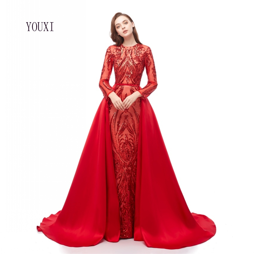 Elegant Muslim Long Sleeve   Evening     Dresses   2019 With Detachable Train Sequin Bling Red Moroccan Kaftan Formal Party Gown