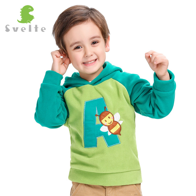 SVELTE Children Boys Girls Cute Cartoon Pattern Collision Color Fleece Hooded Jumpers Jackets Hoody for Kids pullovers