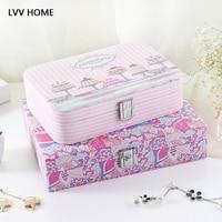 LVV HOME PU lockable jewelry storage box/lovely exterous bohemian printing lipstick storage case
