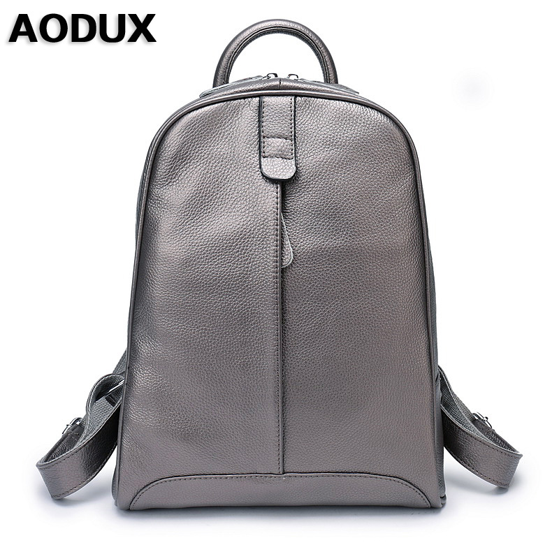 AODUX 100% Genuine Leather Womens Backpack Top Layer Cow School Backpacks Bag Silver Gray/Gray/Pink/White/Beige Color