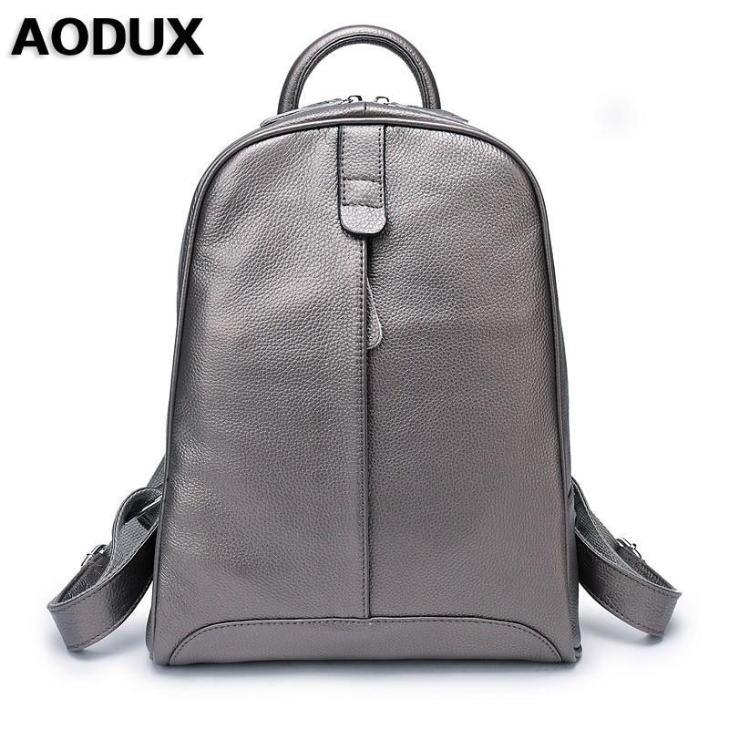 AODUX 100% натуральная кожа женский рюкзак верхний слой коровья кожа Школьные рюкзаки сумка серебристо серый/розовый/белый/бежевый цвет Рюкзаки      АлиЭкспресс